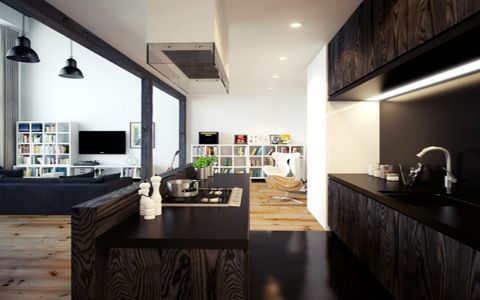 厨房吧台现代简约风格效果图