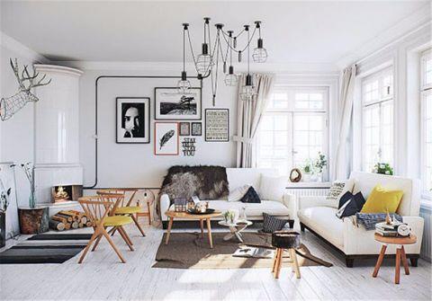 北欧风格90平米三居室房子装修效果图
