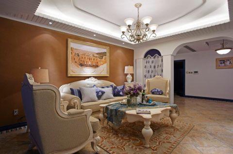 地中海风格90平米三居室房子装修效果图