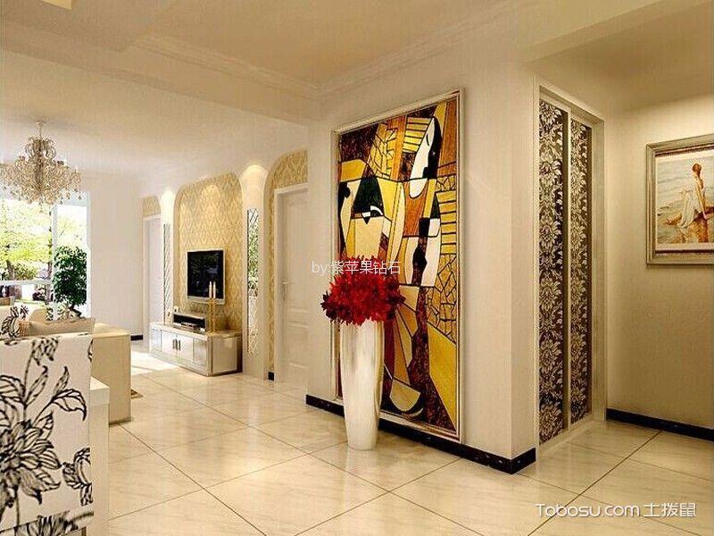 客厅白色地砖简欧风格装修设计图片