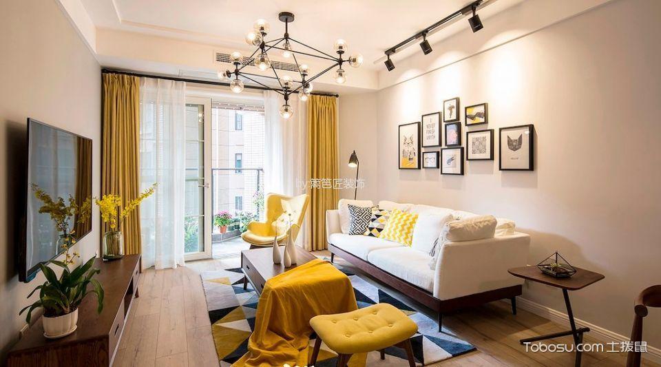 客厅白色照片墙现代简约风格装潢设计图片
