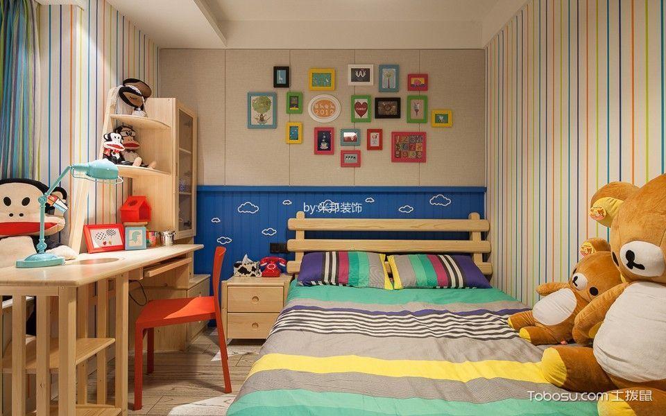 卧室黄色书桌混搭风格装饰图片