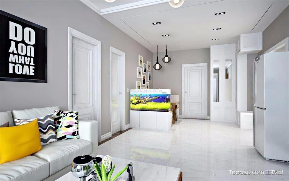客厅白色地砖简约风格装修图片