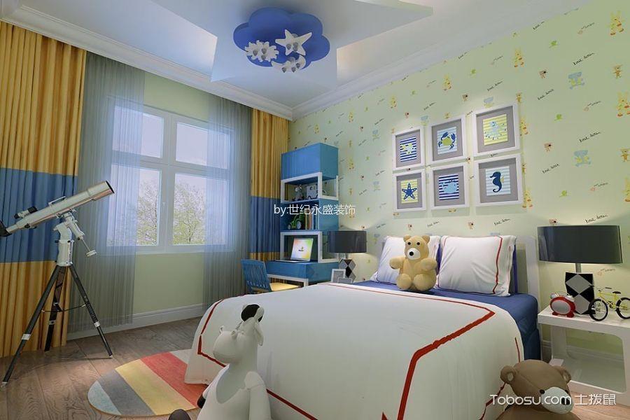 儿童房绿色照片墙现代风格装修设计图片