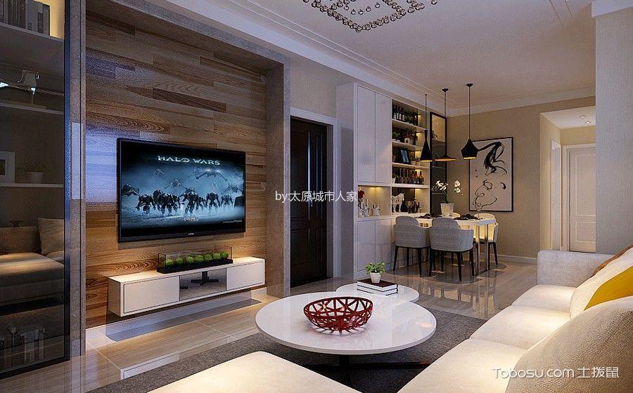 现代简约风格123平米三室两厅室内装修效果图