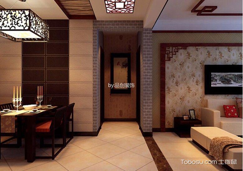 玄关黄色地砖新中式风格装饰设计图片