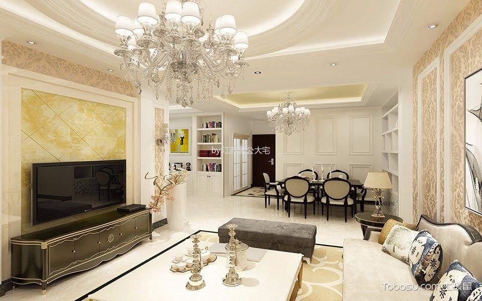 世茂外滩欧式风格三居室装修效果图