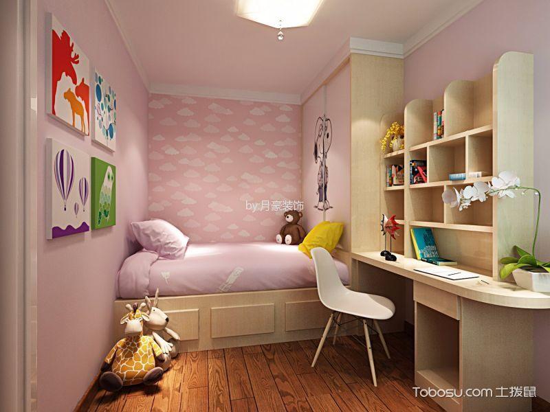 儿童房 背景墙_现代风格80平米两室两厅新房装修效果图