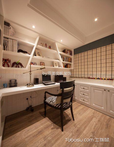 书房咖啡色地板砖美式风格装潢设计图片
