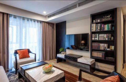 新中式风格90平米公寓室内装修效果图