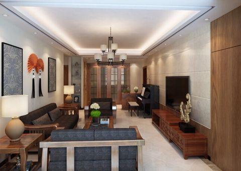 中式风格90平米三室两厅新房装修效果图