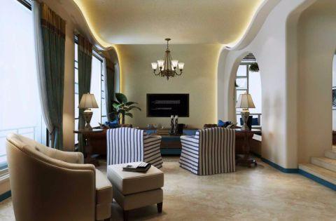 客厅地砖地中海风格装修设计图片
