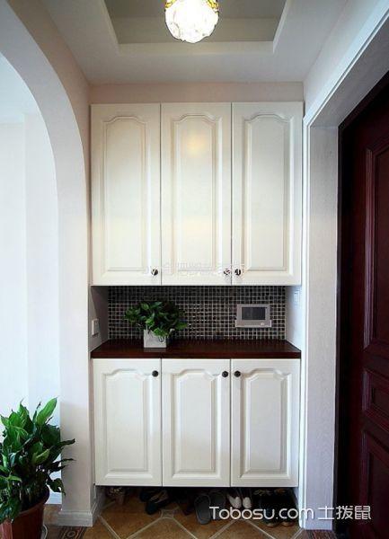 玄关白色鞋柜美式风格装饰设计图片