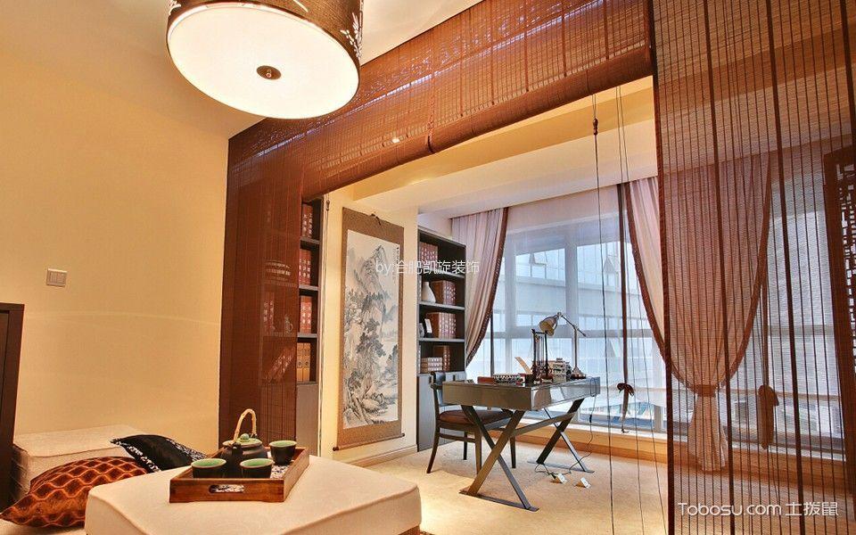 书房红色窗帘中式风格装饰图片