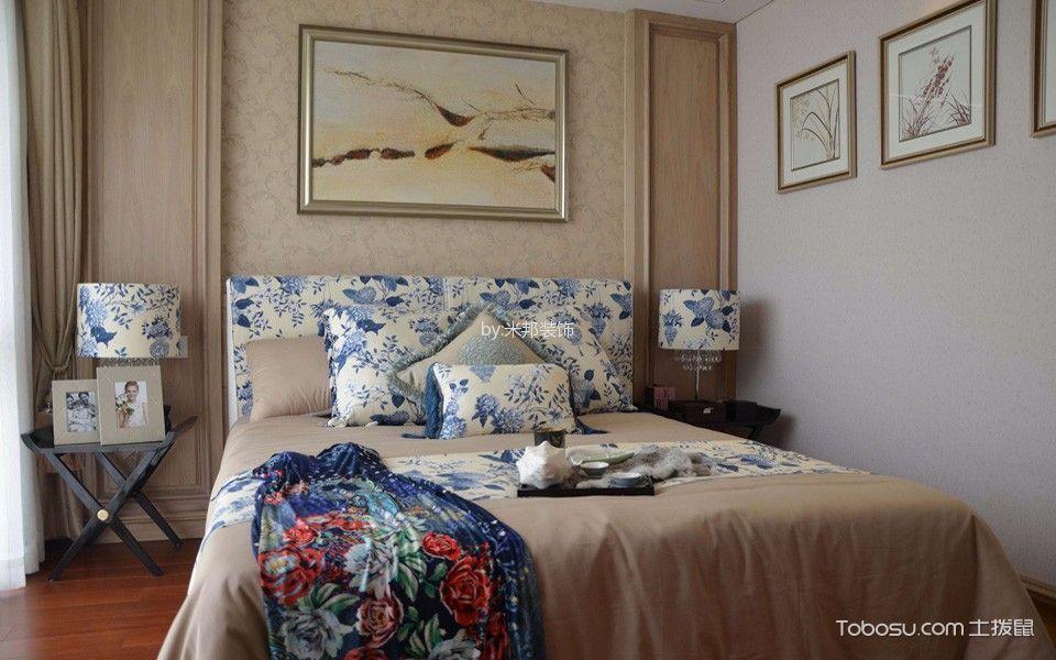 卧室蓝色床法式风格装潢图片