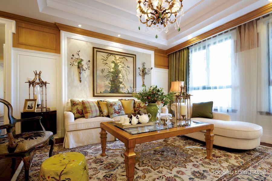 美式风格119平米三室两厅新房装修效果图