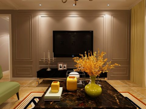 客厅电视柜简欧风格装修图片