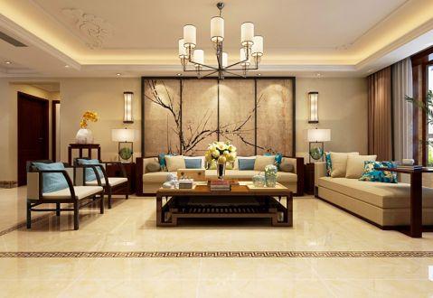 新中式风格200平米大户型新房装修效果图