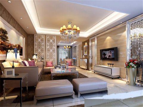 欧式风格100平米两室两厅新房装修效果图