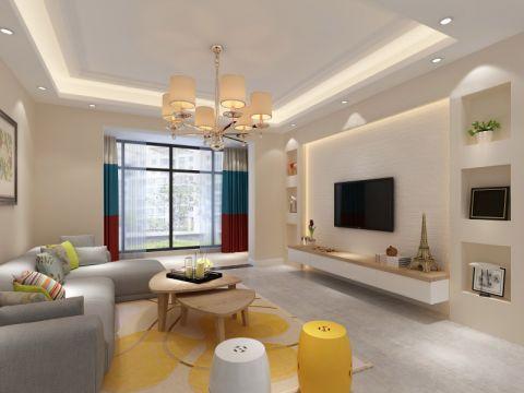 90平米现代简约风格二居室装修设计图