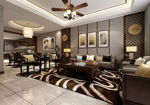 新中式风格230平米大户型室内装修效果图