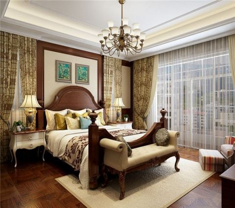 卧室吊顶美式风格装饰设计图片