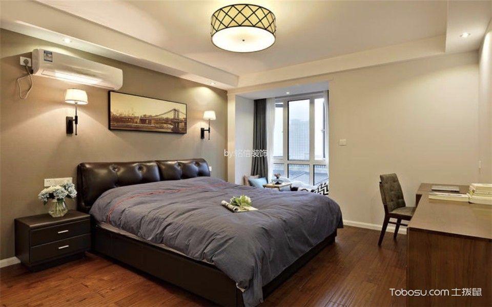 卧室咖啡色地板砖混搭风格装潢效果图
