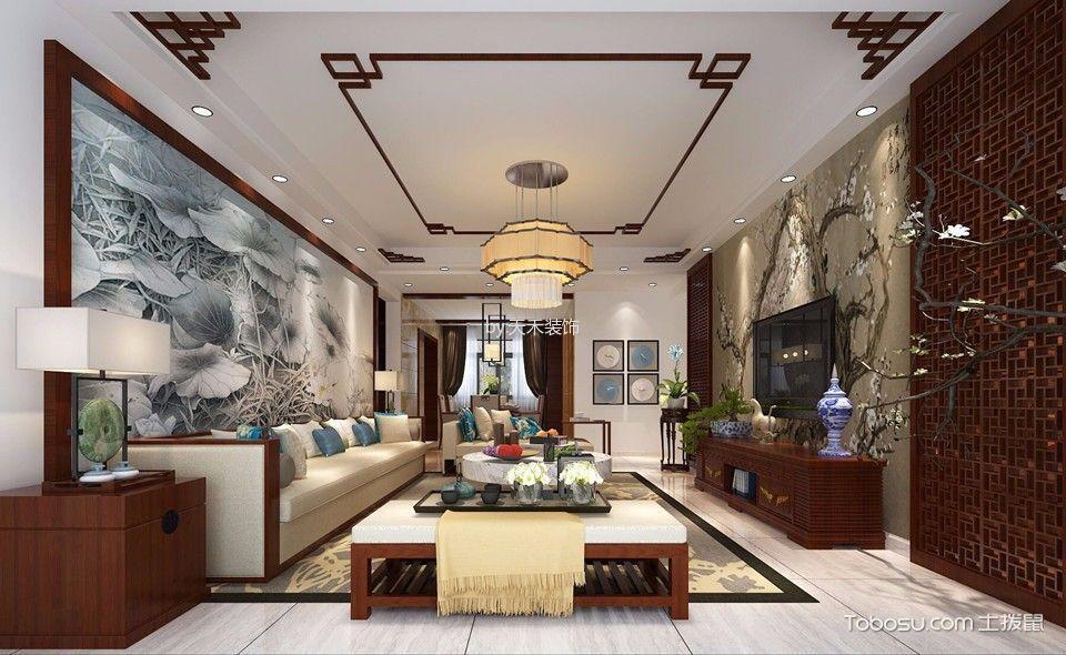 新力帝泊湾三室现代中式风格装修效果图