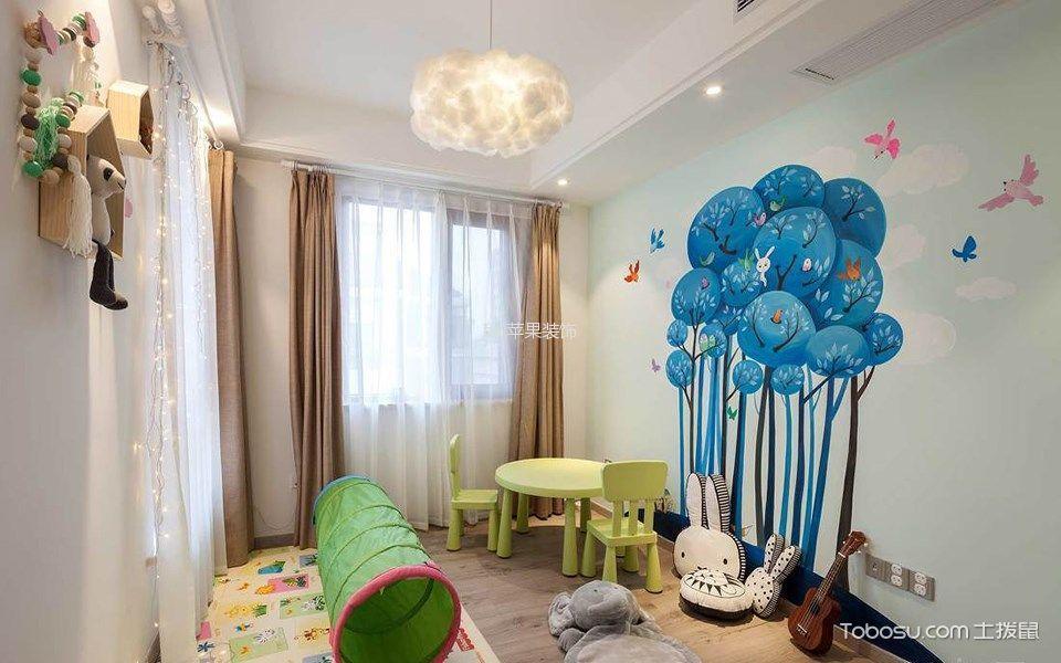 儿童房 吊顶_北欧风格120平米复式新房装修效果图