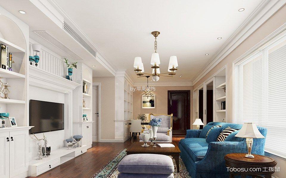 美式风格90平米三室两厅室内装修效果图