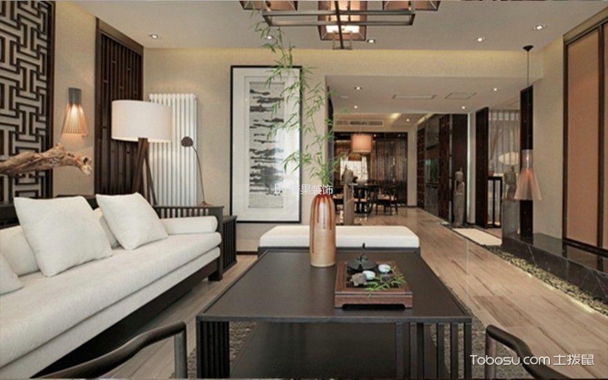 新中式风格110平米两室两厅新房装修效果图