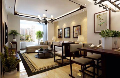 中式风格100平米三室两厅新房装修效果图