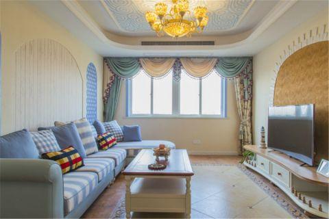 地中海风格95平米三室两厅室内装修效果图