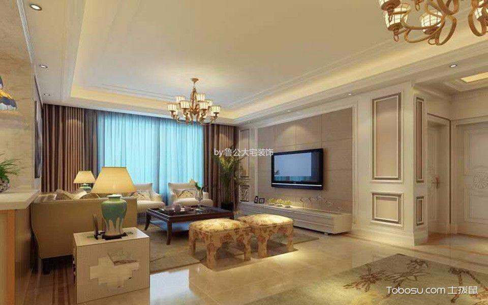美式风格125平米三室两厅新房装修效果图