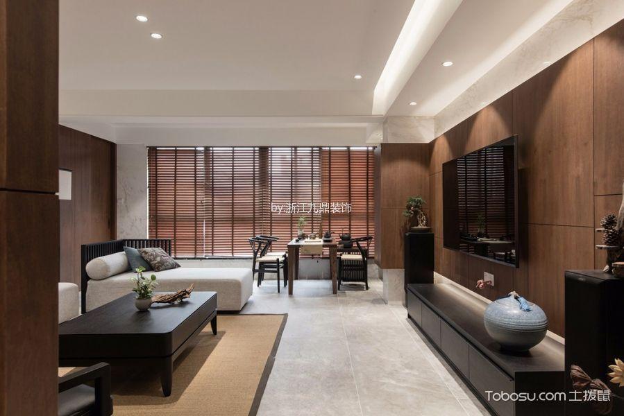 客厅黑色电视柜新中式风格装潢效果图