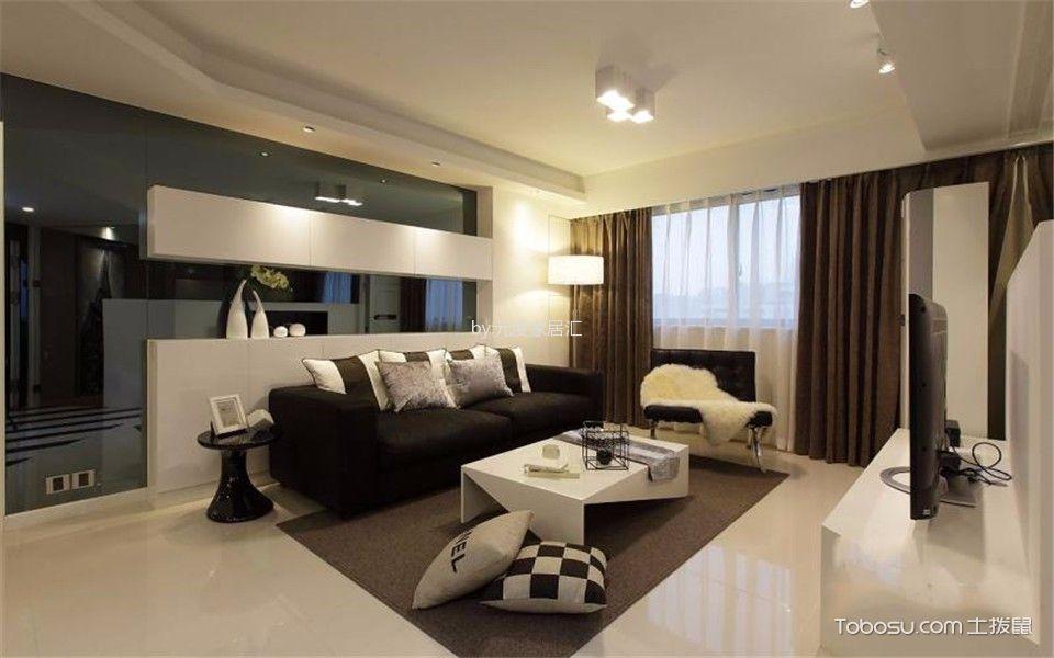 客厅白色茶几现代简约风格效果图