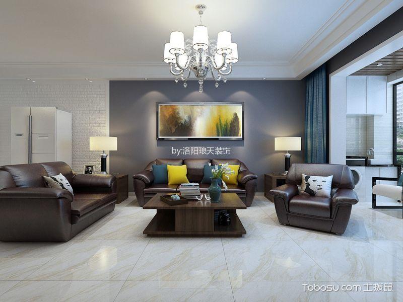 现代简约风格136平米三室两厅新房装修效果图