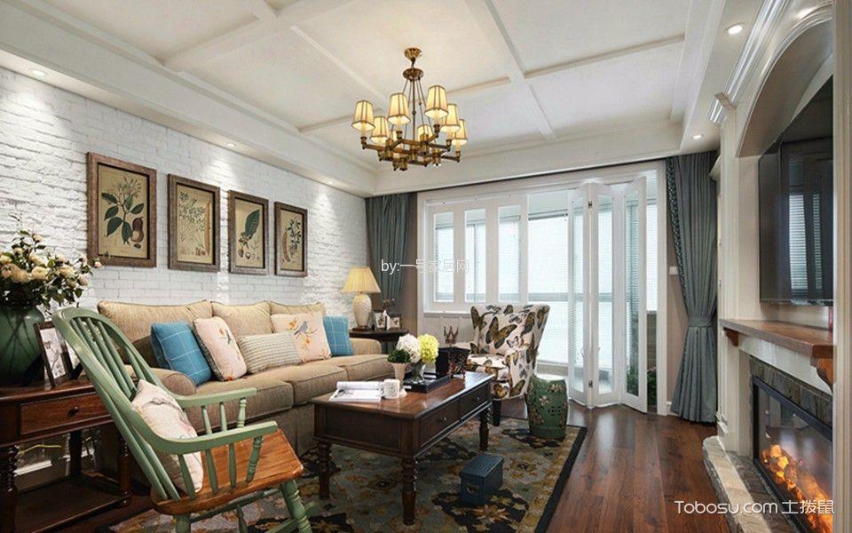 美式风格136平米三室两厅新房装修效果图
