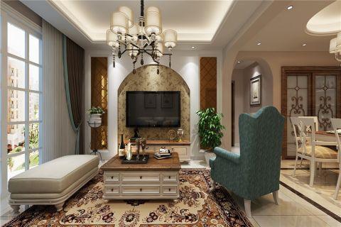 桂花苑小区美式风格三居室装修效果图