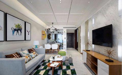 简单风格103平米三室两厅新房装修效果图