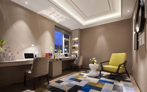 书房白色书桌现代简约风格装潢效果图