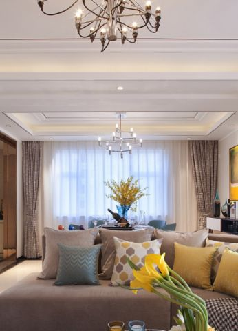 客厅黄色飘窗现代简约风格装潢图片