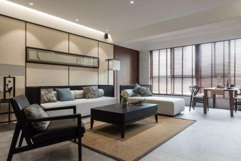 客厅黑色茶几新中式风格装修效果图