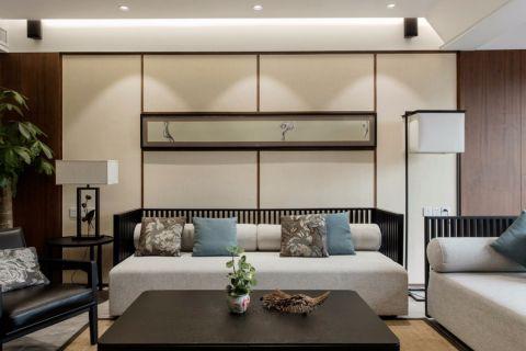 客厅黑色沙发新中式风格装饰效果图
