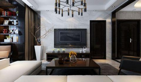 客厅咖啡色电视柜现代风格装饰图片