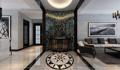 客厅灰色背景墙现代风格装饰设计图片