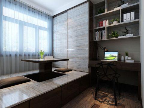 书房咖啡色榻榻米现代风格装潢效果图