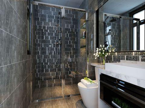 卫生间灰色背景墙现代风格装饰图片