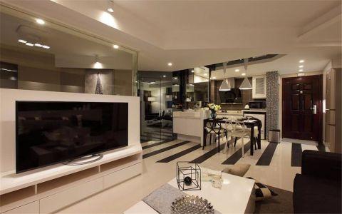 客厅白色电视柜现代简约风格装潢图片