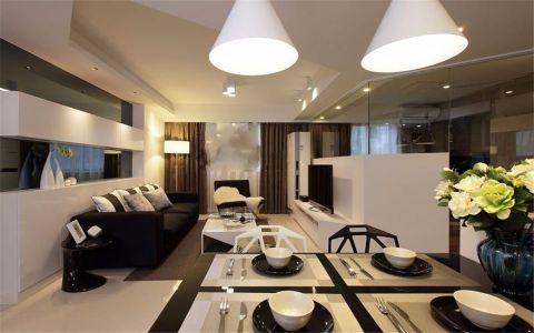 客厅黑色沙发现代简约风格装潢设计图片